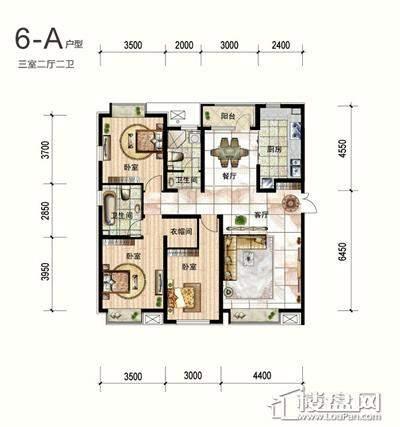 一期6号楼标准层A户型3室2厅2卫1厨 156.15
