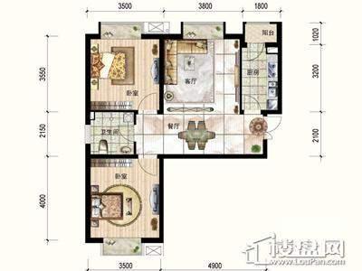 一期4号楼标准层A户型2室2厅1卫1厨 87.64