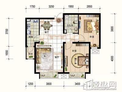 一期3号楼标准层C户型2室2厅1卫1厨 89.01