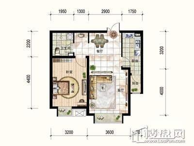 一期3号楼标准层B户型1室2厅1卫1厨 70.47