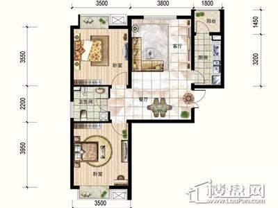 一期3号楼标准层A户型2室2厅1卫1厨 88.06