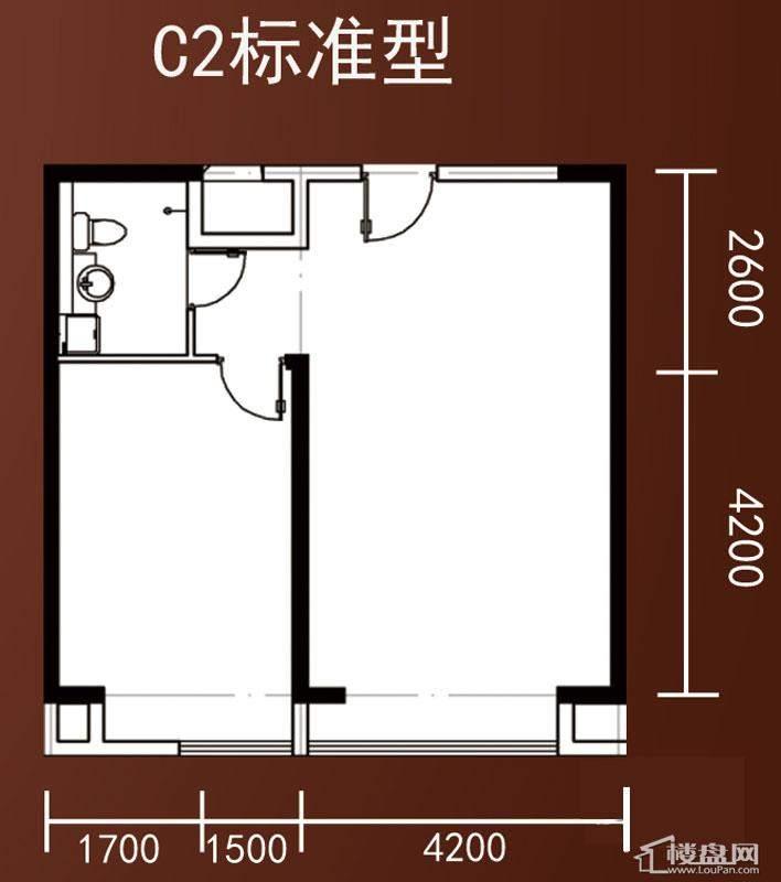 A1-A4号楼标准层平层C2户型2室1厅1卫1厨