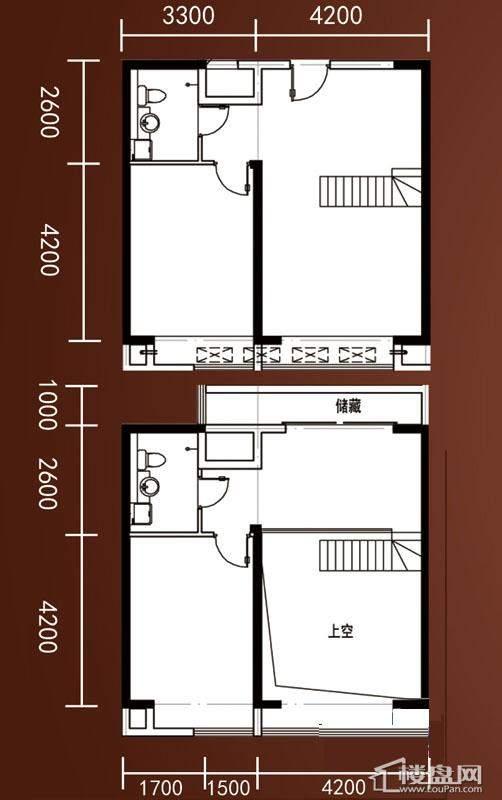 A1-A4号楼标准层平层C1户型1室1厅1卫1厨