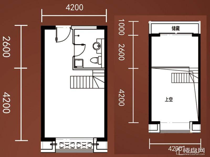A1-A4号楼标准层复式B1户型1室1厅1卫1厨
