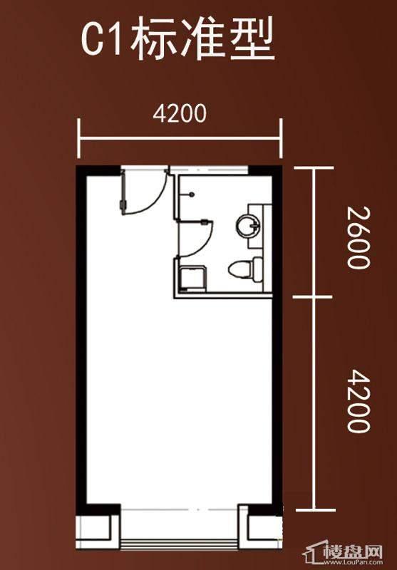 A1-A4号楼标准层复式A1户型2室1厅1卫1厨