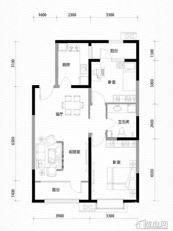 三期高层19号楼标准层B户型
