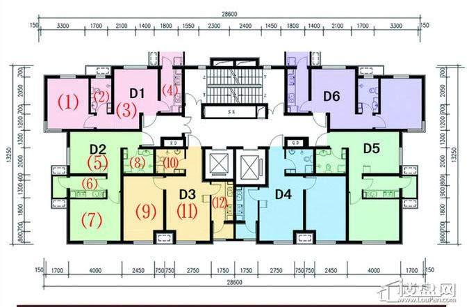 一期1号楼标准层D户型
