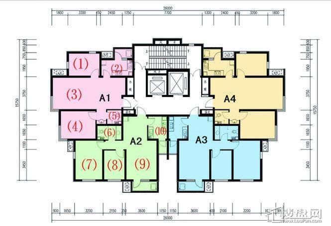 一期1号楼标准层B户型