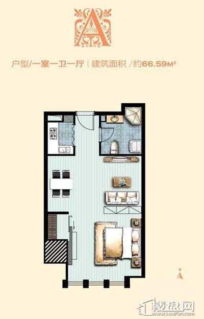 标准层A户型 1室1厅1卫1厨