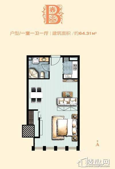 标准层B户型 1室1厅1卫1厨