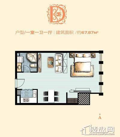 标准层D户型 1室1厅1卫1厨