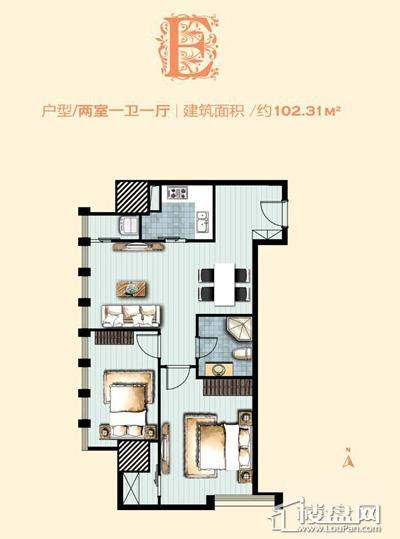 标准层E户型 2室1厅1卫1厨