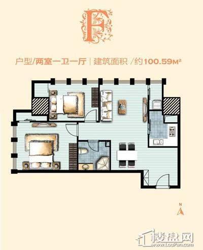 标准层F户型 2室1厅1卫1厨