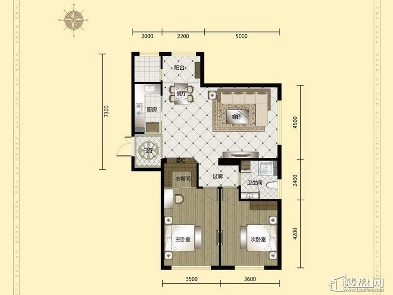 汇锦庄园高层户型G1-1-022室2厅1卫1厨