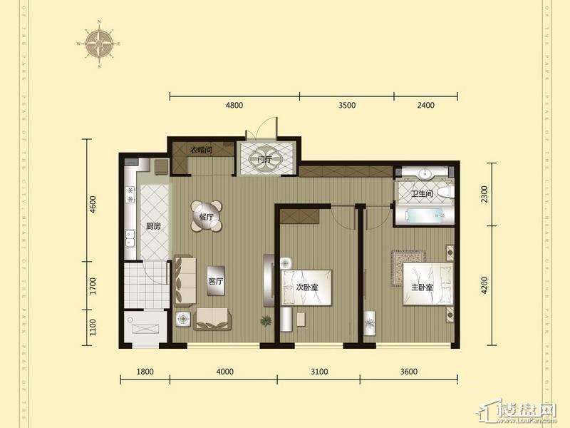汇锦庄园高层户型G1-2-012室2厅1卫1厨