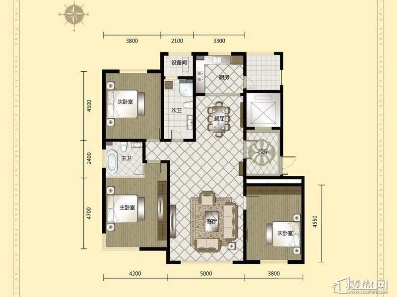 汇锦庄园高层户型G2-G3-023室2厅2卫1厨