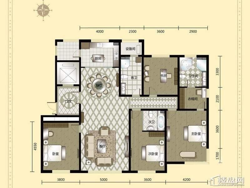 汇锦庄园高层户型G5-1-2-014室2厅3卫1厨