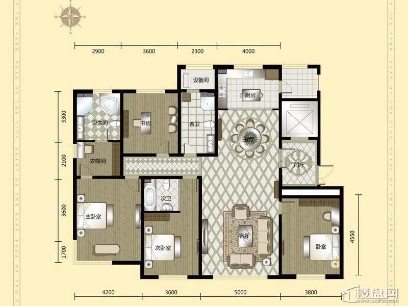 汇锦庄园高层户型G5-1-2-024室2厅3卫1厨