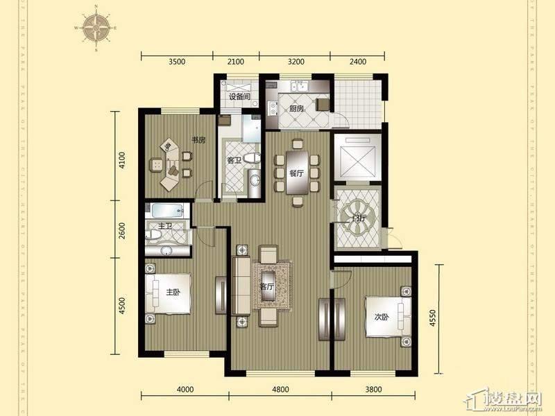 汇锦庄园高层户型G6-1-2-023室2厅2卫1厨