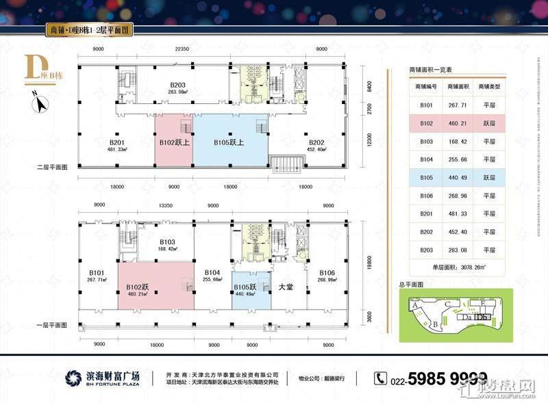 商铺D*B栋1-2层平面图