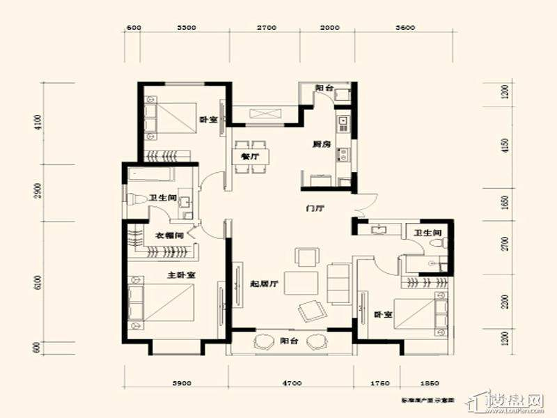 一期1号楼标准层D1、D2户型图