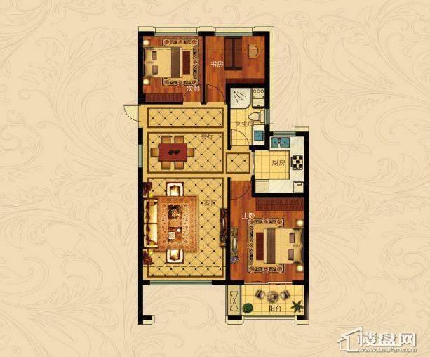 中国铁建国际城B-1(偶数层)3室2厅1卫1厨 88.00㎡
