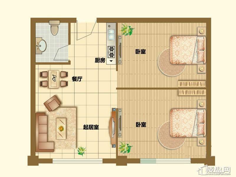 二期4、5号楼标准层D户型1室1厅1卫1厨 40.00