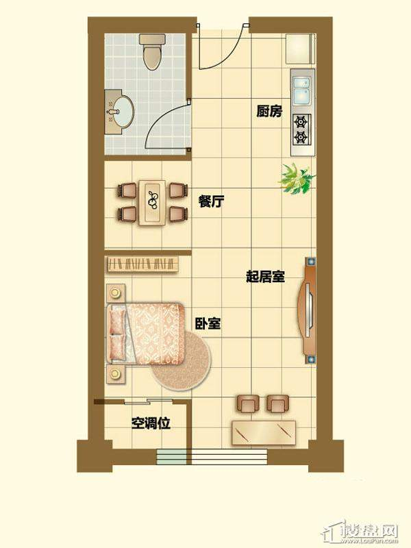 二期4、5号楼标准层E户型1室1厅1卫1厨 56.00