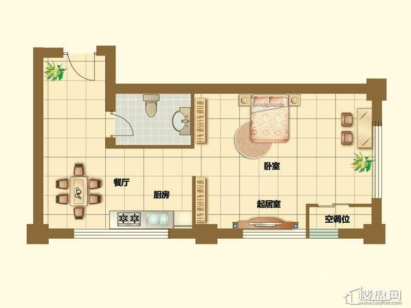 二期4、5号楼标准层F户型2室2厅1卫1厨 105.00