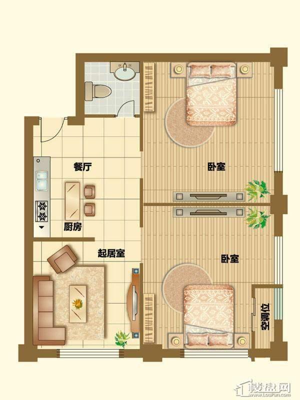二期4、5号楼标准层G户型2室1厅1卫1厨 85.00