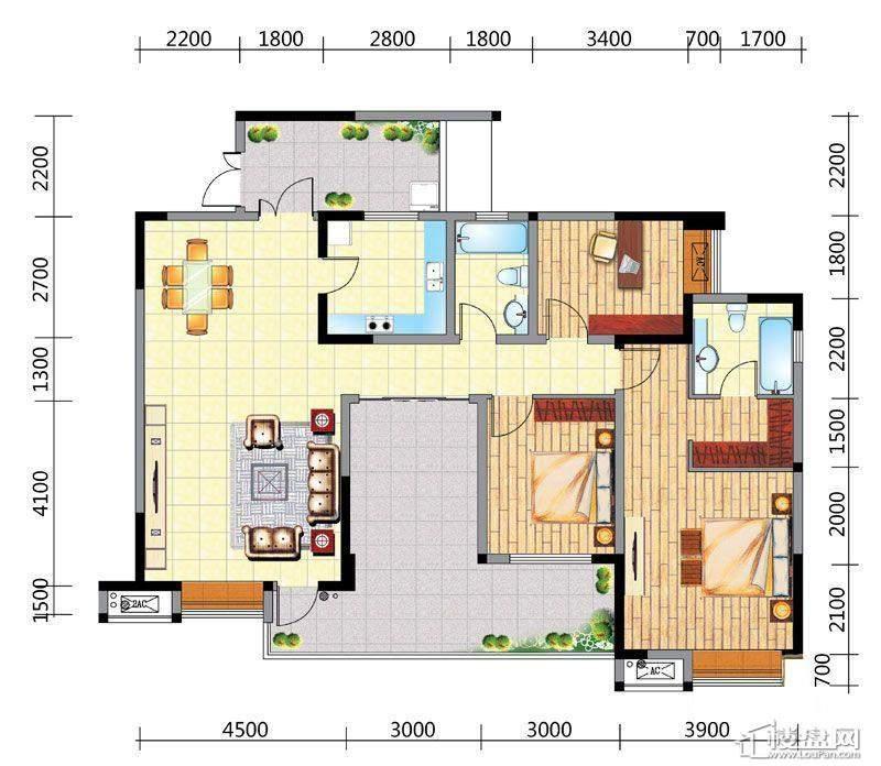国电金海域A3户型3室2厅2卫1厨