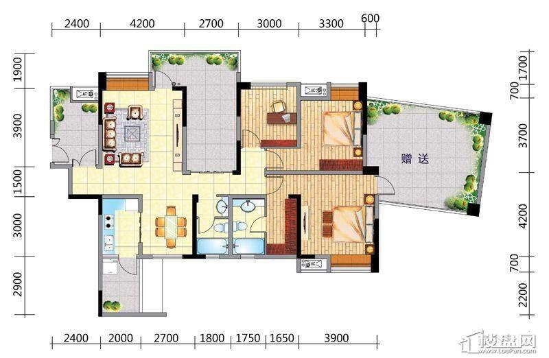国电金海域A2户型3室2厅2卫1厨