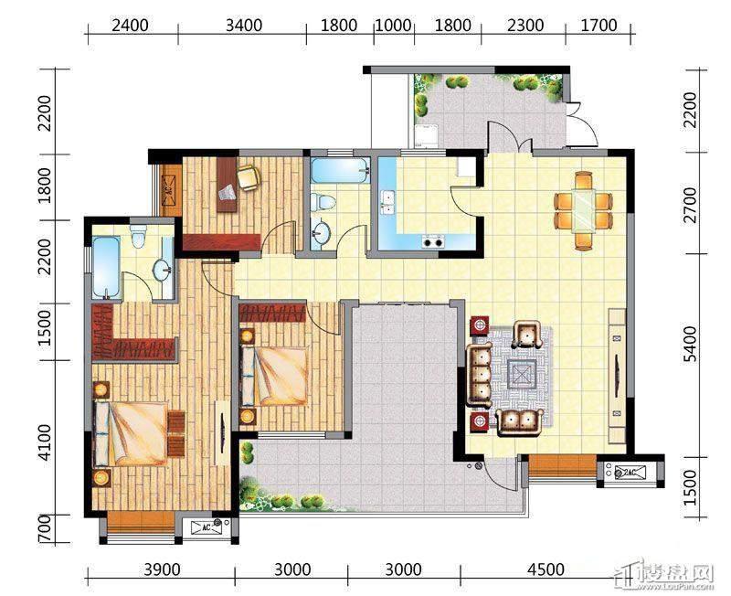 国电金海域A4户型3室2厅2卫1厨