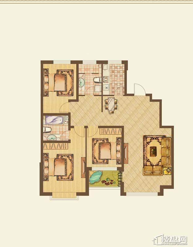 七星九龙湾户型图c3室2厅2卫 137.90㎡