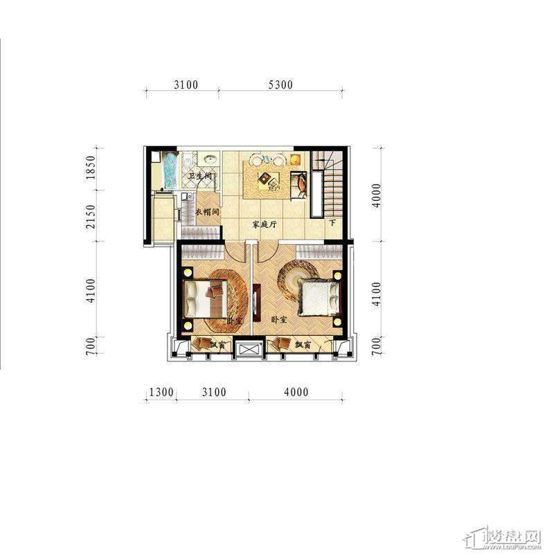 中海龙湾二期160平灵动跃层二层户型图2室1厅1卫 160.00㎡