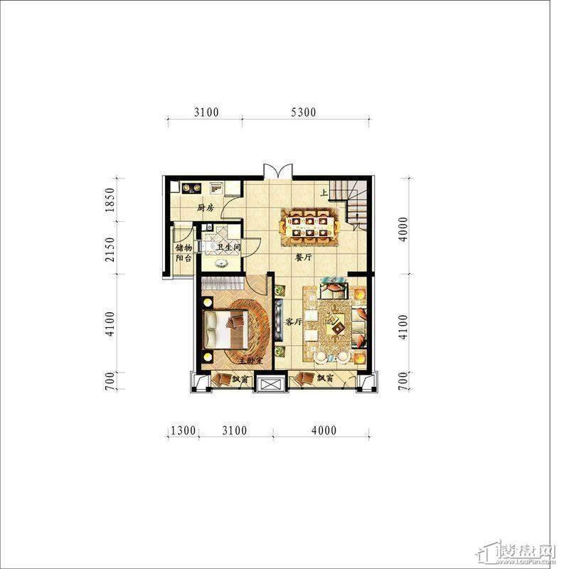 中海龙湾二期160平灵动跃层一层 户型图1室2厅1卫1厨 160.00㎡