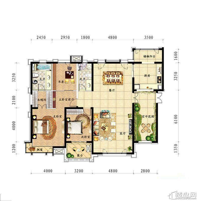 中海龙湾二期190平阔绰大宅 户型图2室2厅2卫1厨 190.00㎡