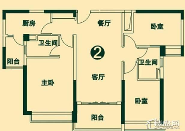 二期6号楼2单元2号户型3室2厅2卫1厨