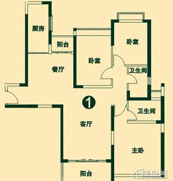 二期高层4号楼2单元1号户型3室2厅2卫1厨