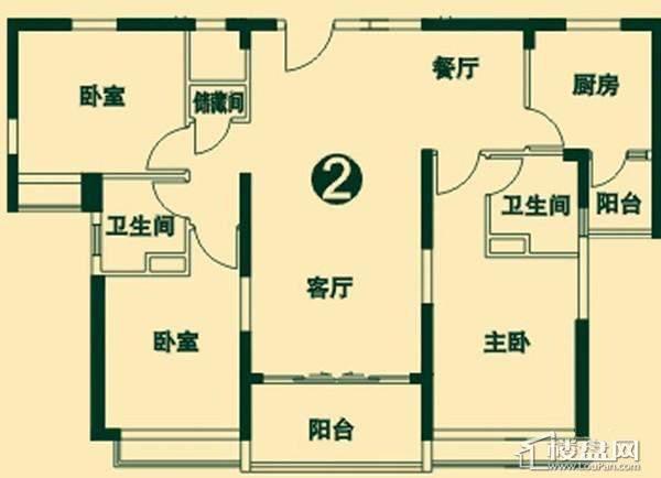 二期高层4号楼2单元2号户型3室2厅2卫1厨