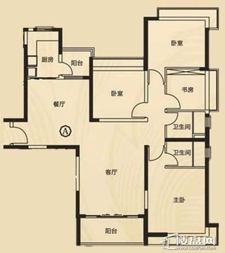 三期7、8号楼1单元A户型4室2厅2卫1厨