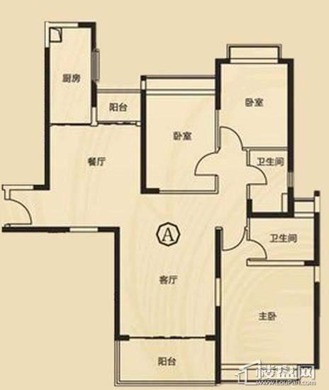三期7、8号楼2单元A户型3室2厅2卫1厨