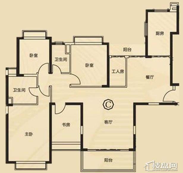三期7、8号楼2单元C户型4室2厅2卫1厨