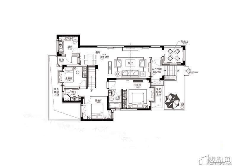 金道城B户型首层样板间平面图4室1厅2卫1厨 126.00㎡