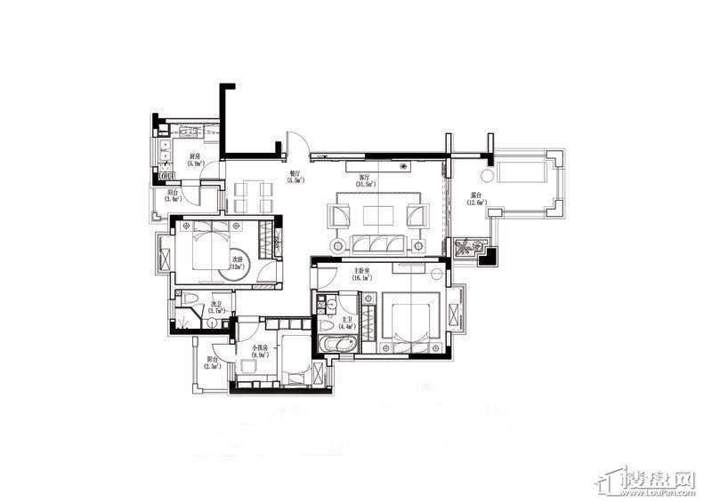 金道城C户型3室1厅2卫1厨 115.00㎡