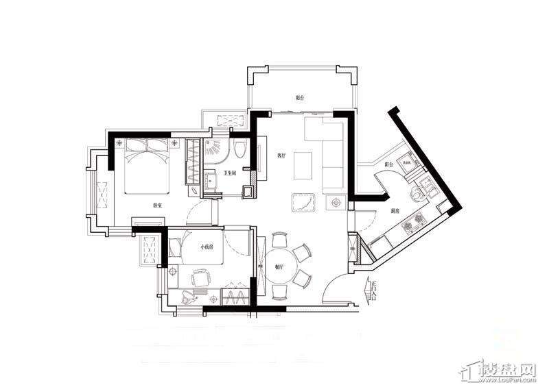 金道城E户型2室1厅1卫1厨 56.00㎡
