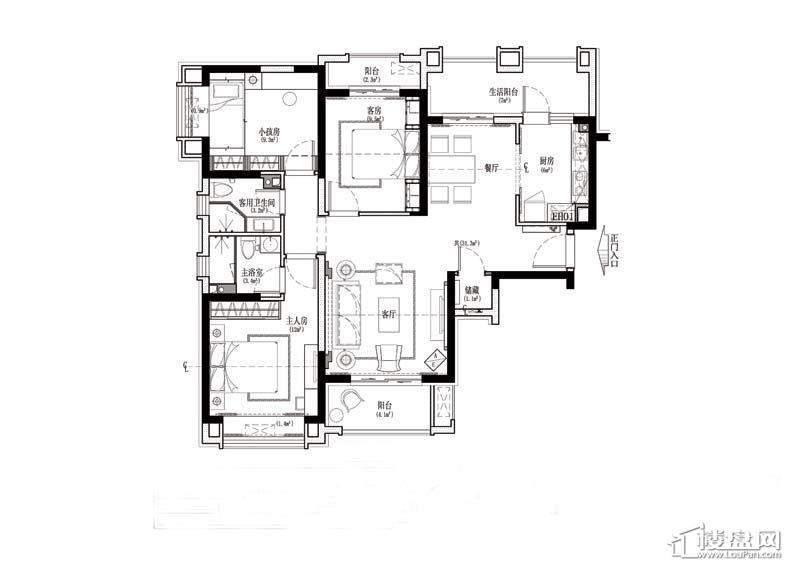 金道城G户型3室1厅2卫1厨 133.00㎡