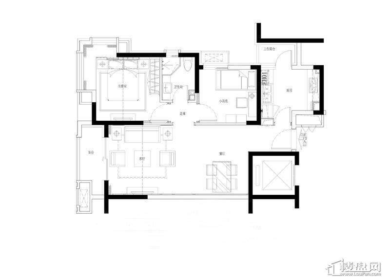 金道城H户型2室1厅1卫1厨 64.00㎡