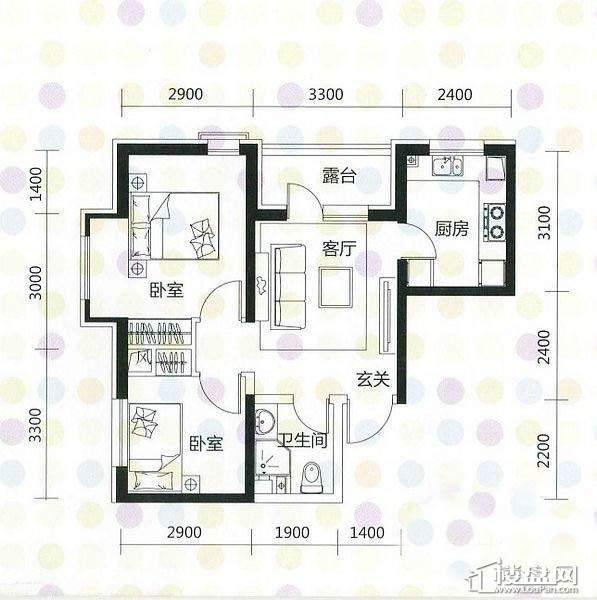 奥园·国际城奥园红馆A1户型2室1厅1卫1厨