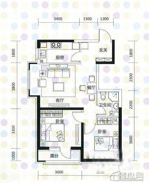 奥园·国际城奥园红馆A2户型2室2厅1卫1厨